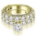 4.15 cttw. 14K Yellow Gold Antique Round Cut Diamond Engagement Set - Thumbnail 0