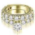 4.65 cttw. 14K Yellow Gold Antique Round Cut Diamond Engagement Set - Thumbnail 0