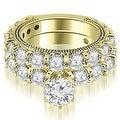 4.65 cttw. 14K Yellow Gold Antique Round Cut Diamond Engagement Set - Thumbnail 0