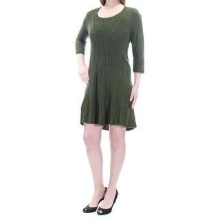 Womens Green 3/4 Sleeve Mini A-Line Dress Size: M