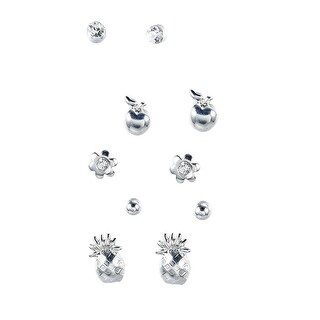 Tropical Fruit Pineapple Apple Flower Silver Tone Stud Earrings Set (5 Pairs), By JADA Collections