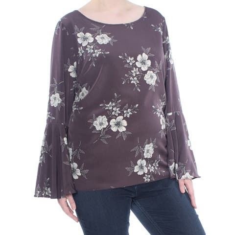 SOPRANO Womens Gray Cut Out Floral Bell Sleeve Top Plus Size: 2X