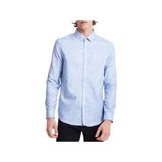 Calvin Klein Mens Button-Down Shirt Crosshatch Long Sleeve