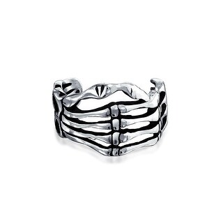Bling Jewelry 925 Silver Gothic Skeleton Hand Cartilage Ear Cuff One Piece