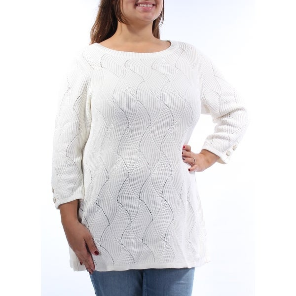 CHARTER CLUB Ivory Geometric Jewel Neck 3/4 Sleeve Sweater Plus XL B+B