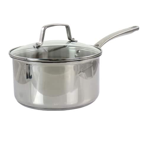 Martha Stewart 3.5 Quart Stainless Steel Saucepan with Glass Lid