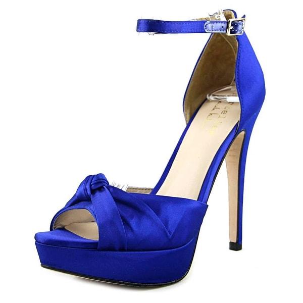 Nicole Miller Clancey Women Open Toe Canvas Blue Platform Heel