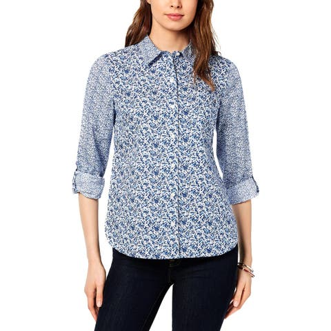 Tommy Hilfiger Womens Blouse Roll Sleeves Floral