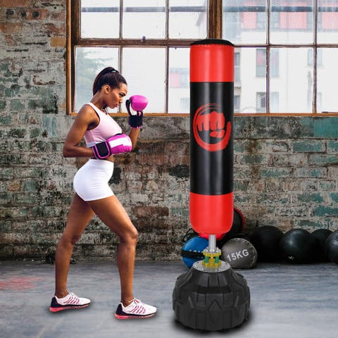 Freestanding Punching Bag Heavy Solid Boxing Bag with Suction Cup Armor Base & Noise Vibration Absorption Device for Adult Youth