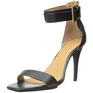 Calvin Klein Womens Sable Leather Ankle Strap Dress Sandals - 9.5 medium (b,m)