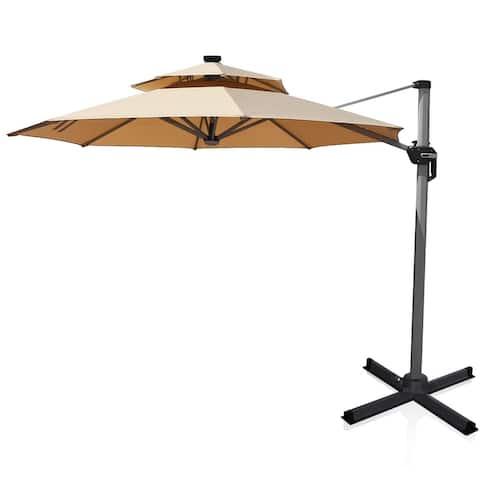 12ft 360-deg Rotation Aluminum Solar LED Patio Cantilever Umbrella