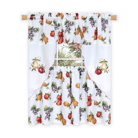 Ambrosia Embellished Tier and Swag Kitchen Curtain Set, White, 58x36 Inches