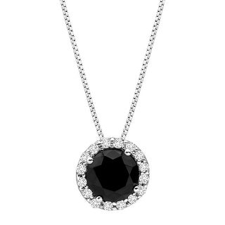 Circle Halo Pendant with Black & White Cubic Zirconia in Sterling Silver