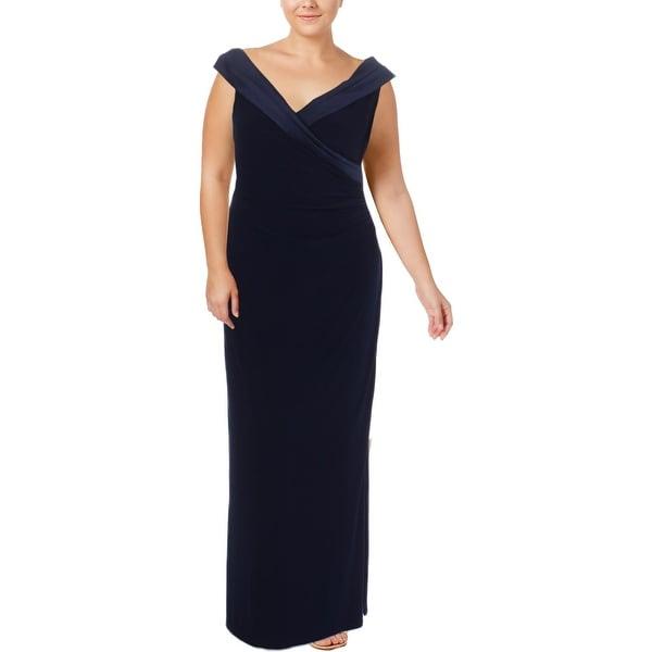 97a84d7a524 Lauren Ralph Lauren Womens Leonetta Evening Dress Satin Trim Portrait Collar