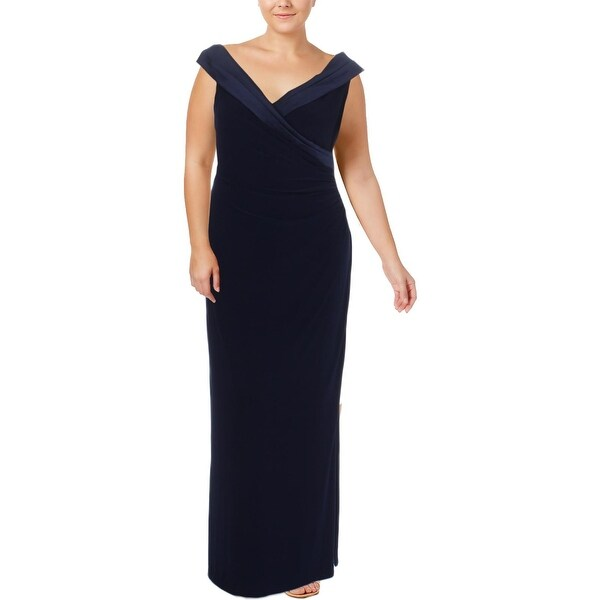 8eece8afb4f51 Shop Lauren Ralph Lauren Womens Leonetta Evening Dress Satin Trim ...