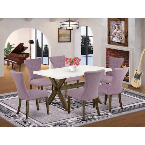 Dining Set Includes Dining Table and Parson Chairs with Button Tufted Chair Back (Number of Chairs Option)