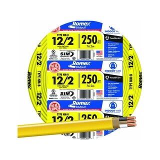 Southwire 28828255 Romex Non-Metallic Sheathed Cable w/Ground, 12/2, Copper,250'