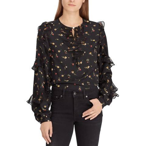 Lauren Ralph Lauren Ladies Floral Print Ruffled Top X-Large XL Black