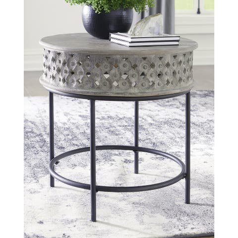 "Rastella Casual Round End Table, Gray/Black - 24""W x 24""D x 24""H"