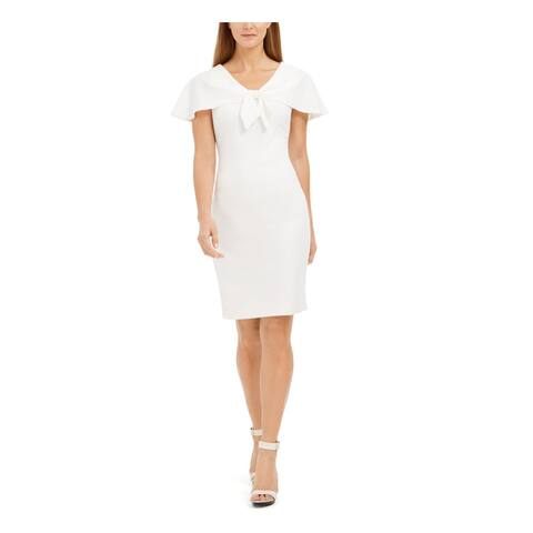 CALVIN KLEIN Womens White Knee Length Sheath Evening Dress Size 6