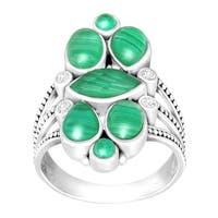 Sajen Malachite Doublet Ring with White Topaz in Sterling Silver