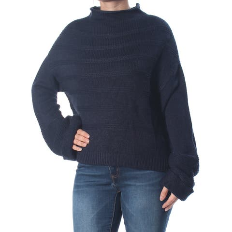 JESSICA SIMPSON Womens Navy Ribbed Cuffed Sweater Size: L