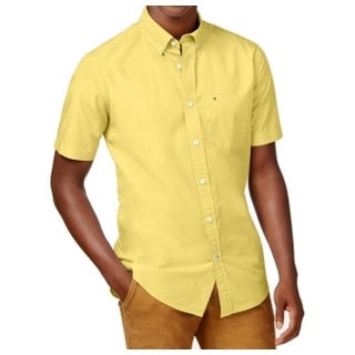 Tommy Hilfiger NEW Yellow Mens Size XS Classic-Fit Button Down Shirt