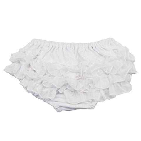 Reflectionz Baby Girls White Ruffle Cotton Diaper Cover Bloomers 3-18M