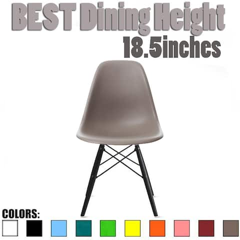 2xhome Designer Plastic Eiffel Chair Dark Black Legs Retro Dining Armless With Back Desk Accent Living Room Side Kitchen