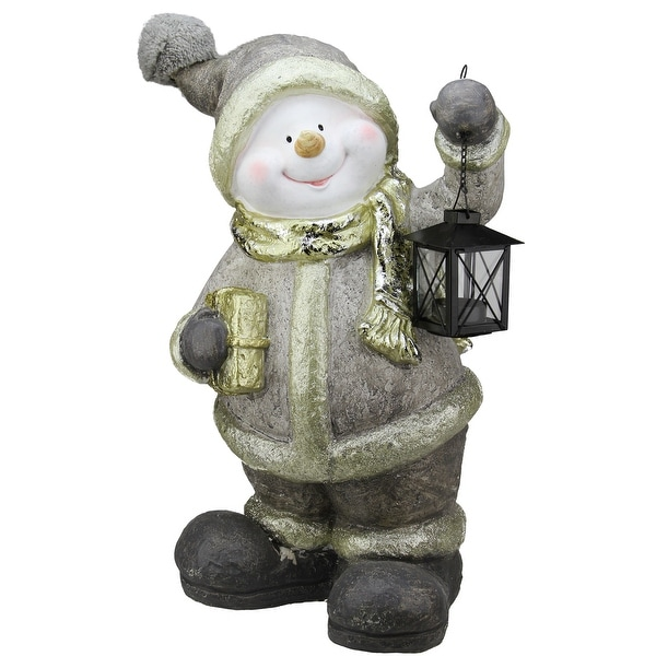 "19"" Gold Metallic Snowman with Lantern Christmas Table Top Decoration"
