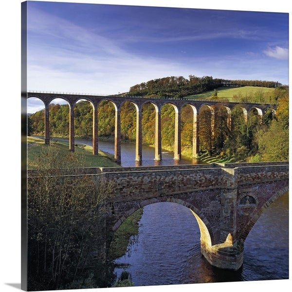 """""""Bridge and viaduct crossing the River Tweed near Melrose"""" Canvas Wall Art"""