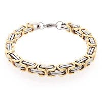 Bling Jewelry 8mm Mechanic Style Mens Link Bracelet 2 Tone Gold Plated Steel 9in