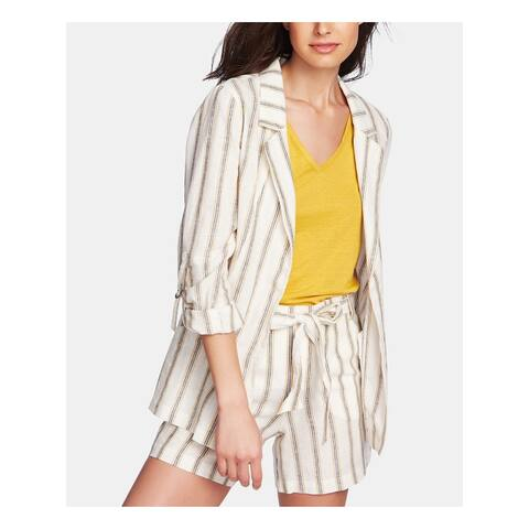 1. STATE Womens Beige Striped 3/4 Sleeve Open Cardigan Top Size 10