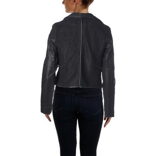 Blank NYC Womens Sofa King Wool Faux Leather Jacket