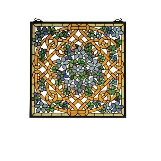 Meyda Tiffany 99027 Tiffany Square Stained Glass Window Pane from the Shamrock Garden Collection - GOLD - n/a