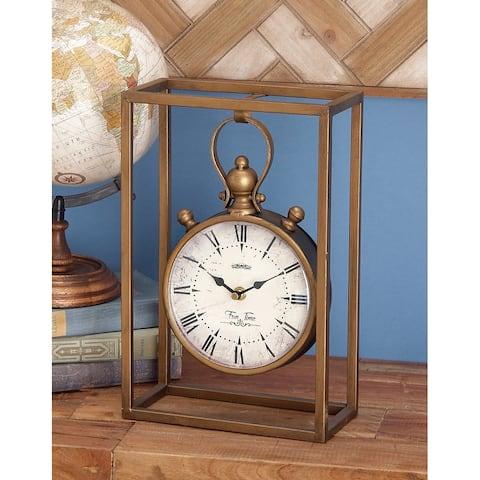 Bronze Metal Vintage Clock, 13x9x4 by Studio 350
