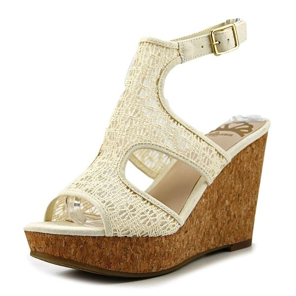 4d14d5e287 Shop Fergalicious Kendra Women Open Toe Canvas Ivory Wedge Sandal ...