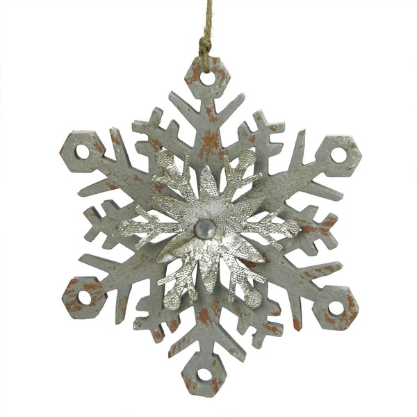 """6.75"""" Urban Nature Distressed Grey and Silver Double Layer Snowflake Christmas Ornament"""