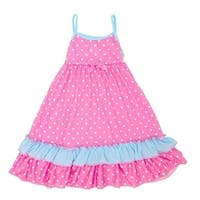 Laura Dare Little Girls Blue Pink Polka Dot Tie Ruffle Trim Nightgown