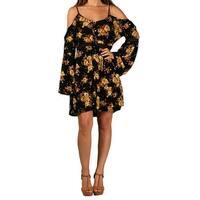 Paperdoll Junior Floral Print Open-Shoulder Dress