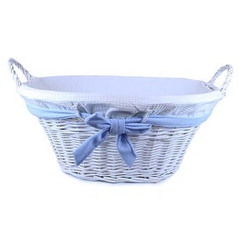 Jumbo White Willow Basket with White Liner and Blue Bow