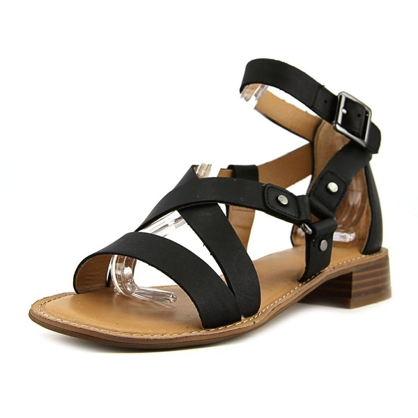 Franco Sarto April Women Open Toe Leather Black Sandals