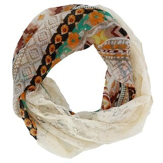 CTM® Women's Floral Tribal Print and Lace Infinity Loop Scarf - one size