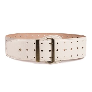 Roberto Cavalli Womens Ivory Leather Wide Waist 3 Holes Belt