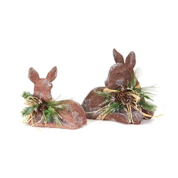 """Set of 2 Brown Iced Deer Figures with Pine and Cone 11"""""""