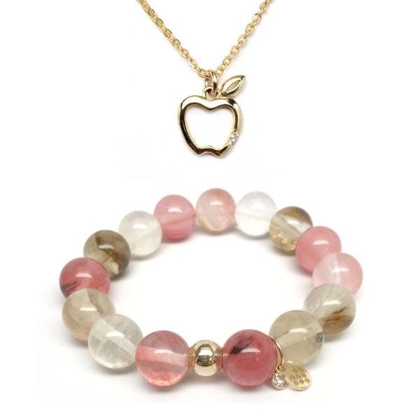 Pink Cherry Quartz Bracelet & CZ Apple Gold Charm Necklace Set