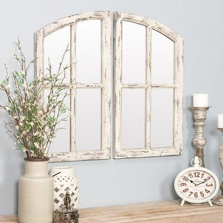 "Link to Jolene Arched Window Pane Mirrors (Set of 2) - White - 27""h x 15""w x 1""d Similar Items in Mirrors"