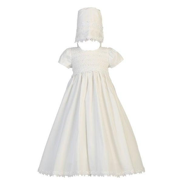 c8361518a80b3 Baby Girls White Cotton Smocked Bonnet Easter Christening Gown 0-18M