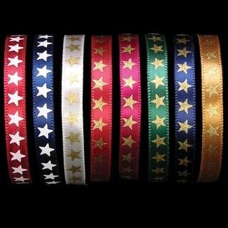 "Copper Star Print Woven Edge Satin Craft Ribbon .25"" x 200 Yards"