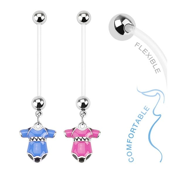 Baby Bodysuit Dangle Bio Flex Pregnancy Navel Belly Button Ring